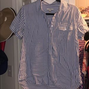 White and blue striped Buttoned J crew top